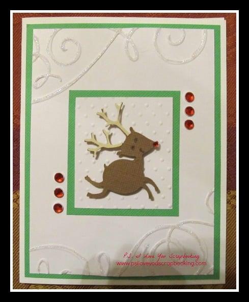 Christmas card with cricut reindeer for Reindeer christmas card craft