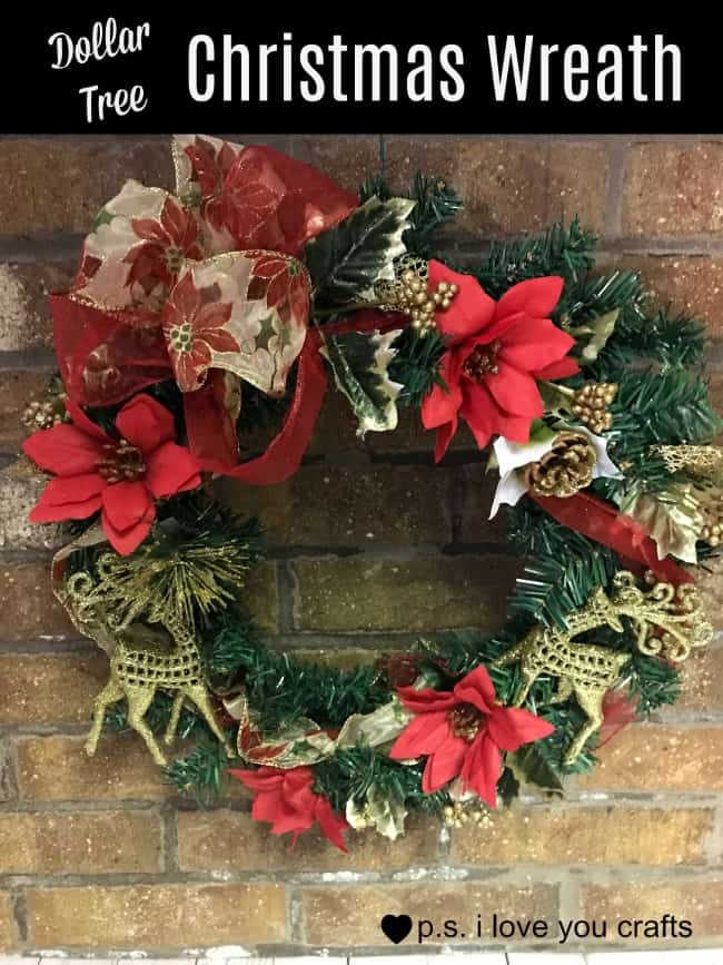 Dollar Tree Christmas Wreath - P.S. I Love You Crafts
